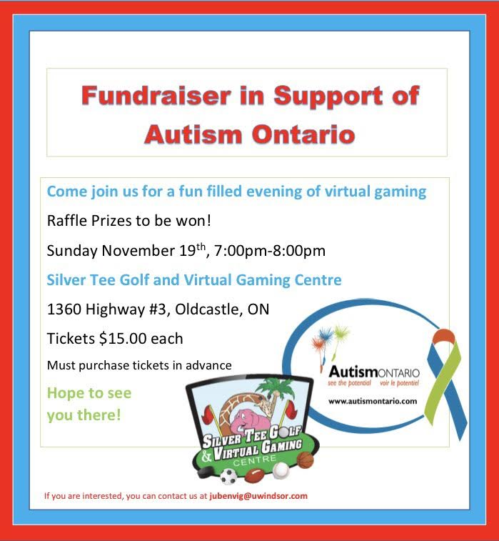 Fundraiser in Support of Autism Ontario Silver Tee Windsor Nov 2017