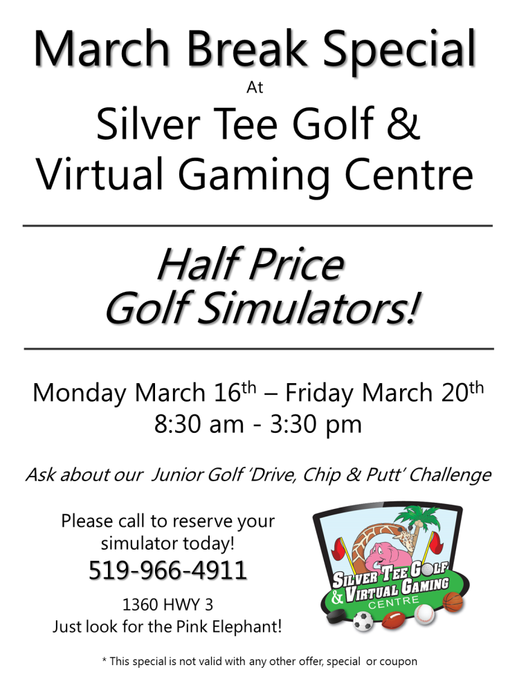 March Break Special at Silver Tee Golf Centre