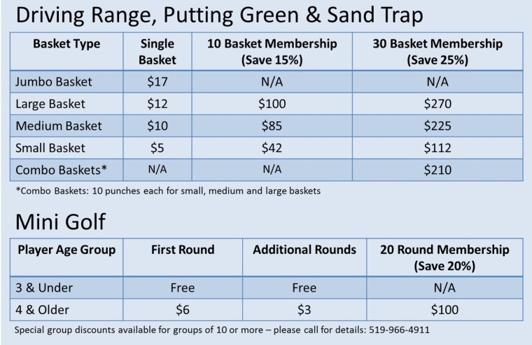 Silver Tee Driving Range and Mini Golf Rates