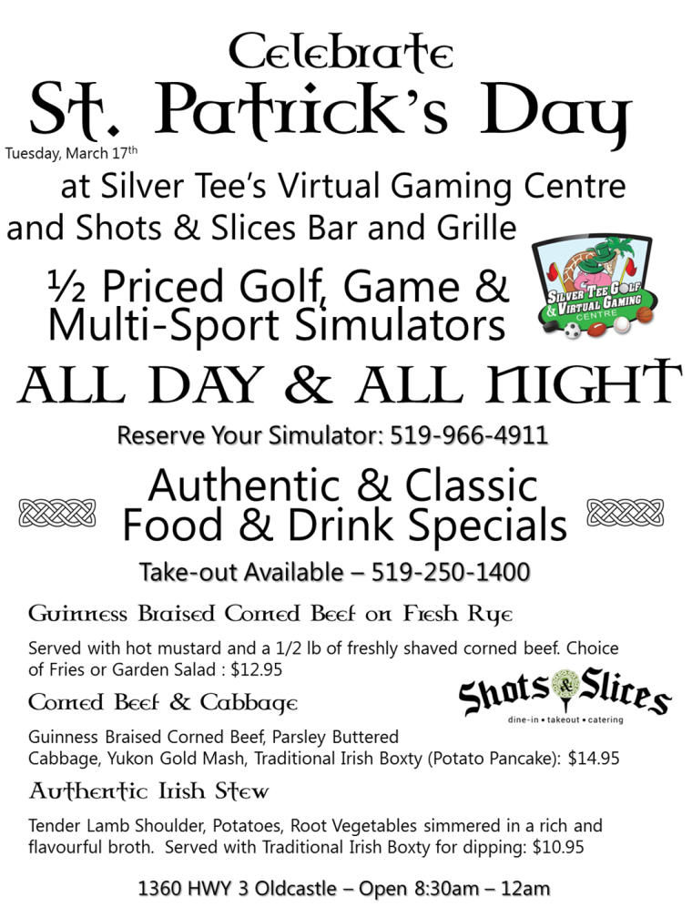 St Patrick's Day Specials at Silver Tee and Shots and Slices