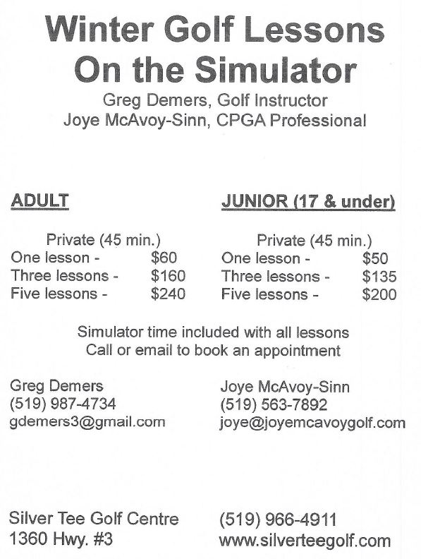winter golf lessons in Windsor Essex