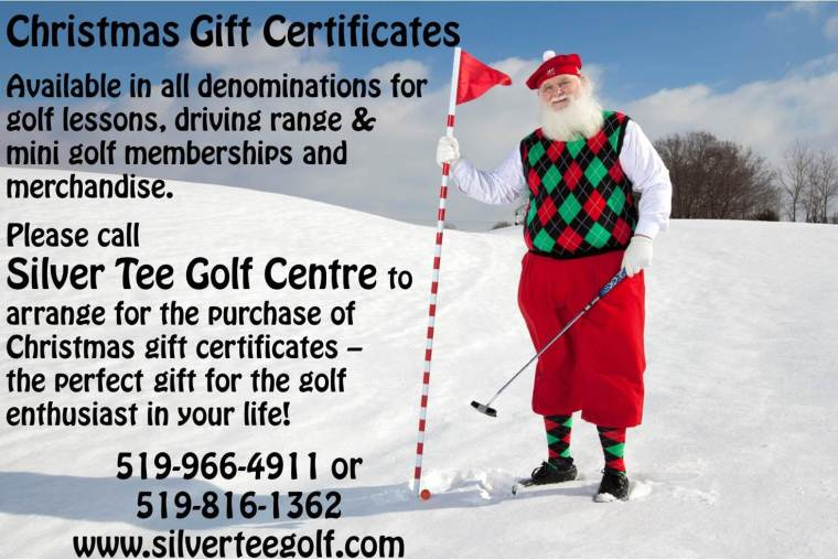 Christmas Gift Certificates for Silver Tee Centre