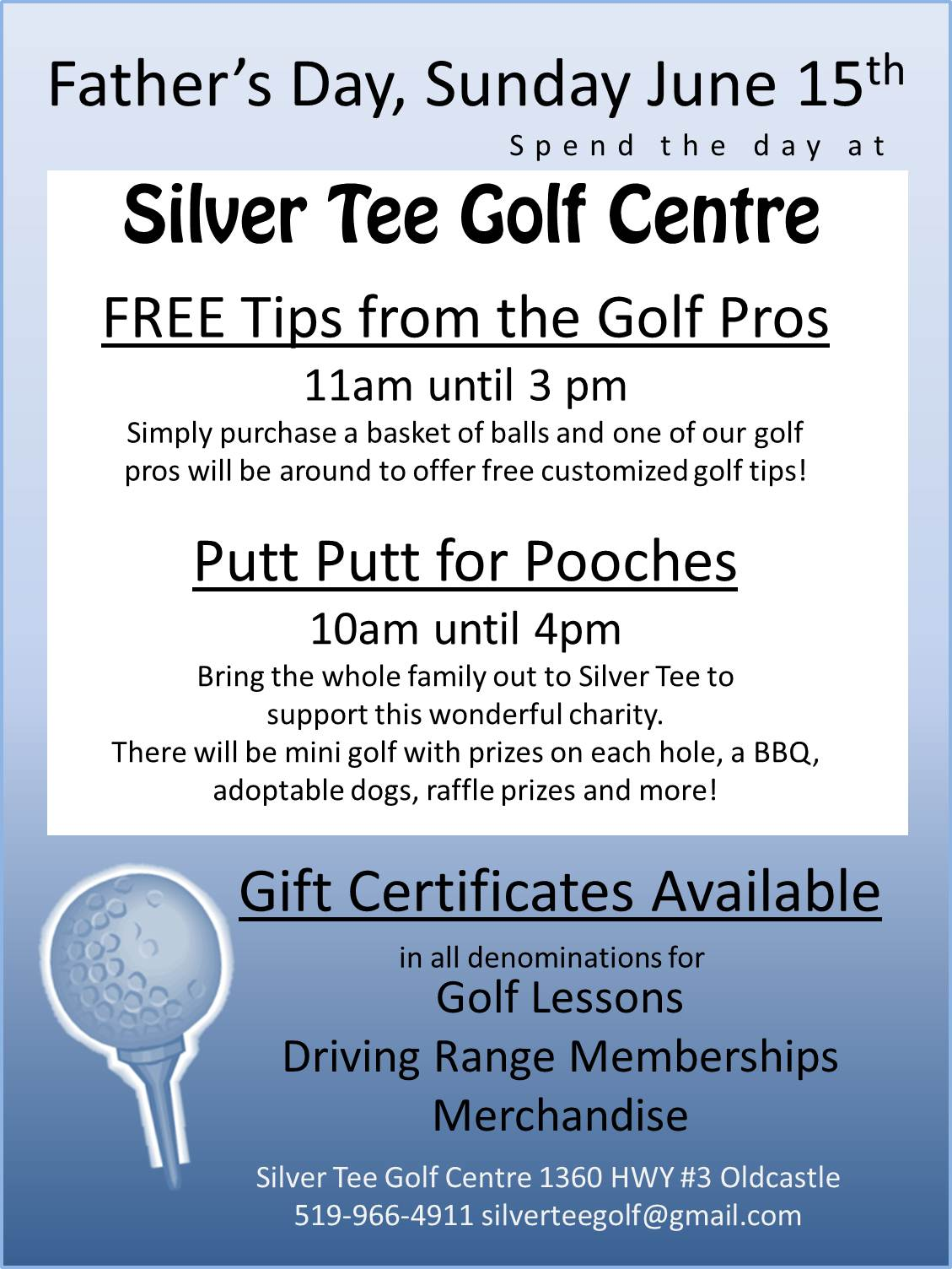 golf gift certificates silver tee golf and virtual gaming centre father s day silver tee golf centre