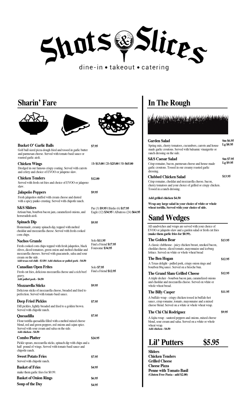 Shots & Slices Menu Windsor