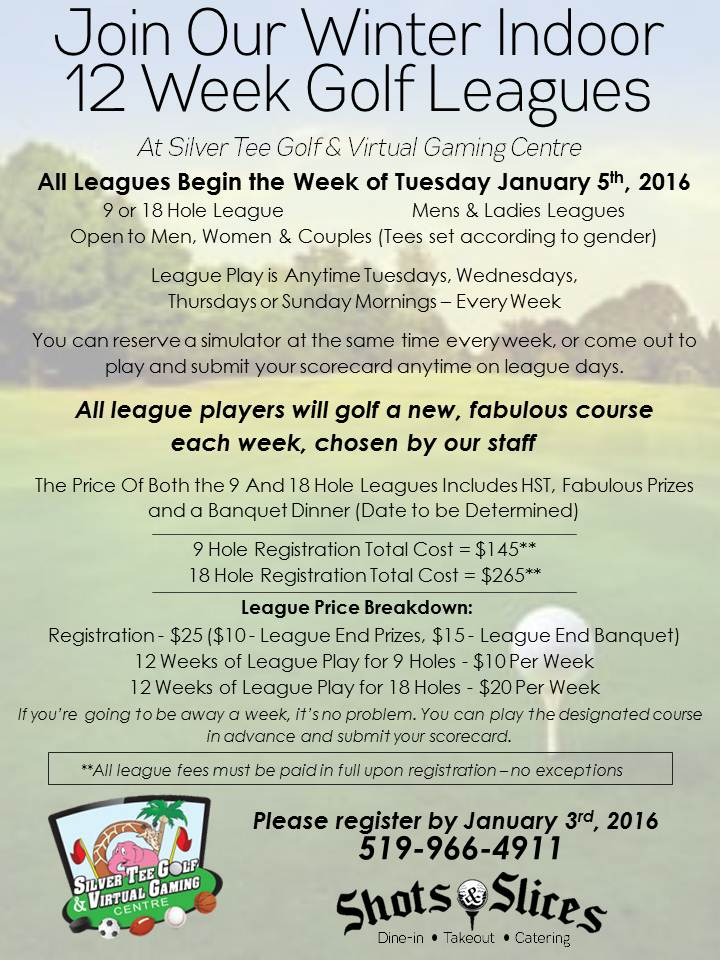 Silver Tee Winter 2016 Indoor Golf League Flyer