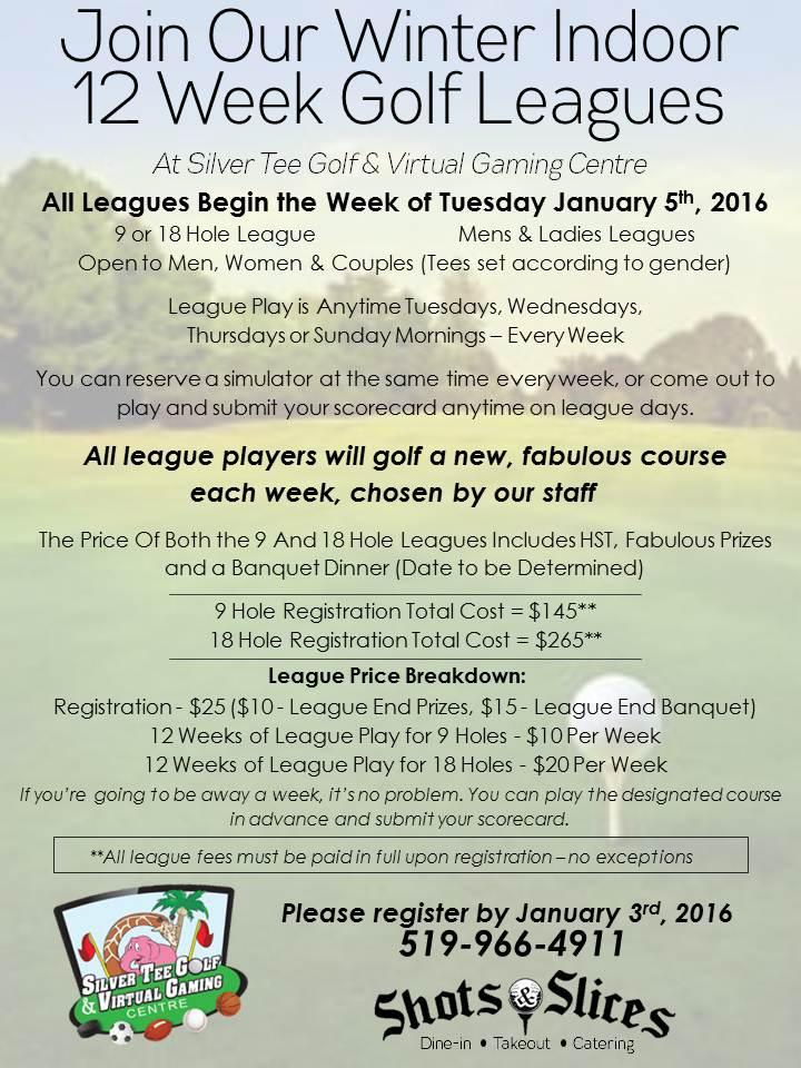 Silver Tee Winter 2016 Indoor Golf League Flyer