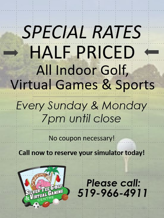 Special Rates Half Price at Silver Tee