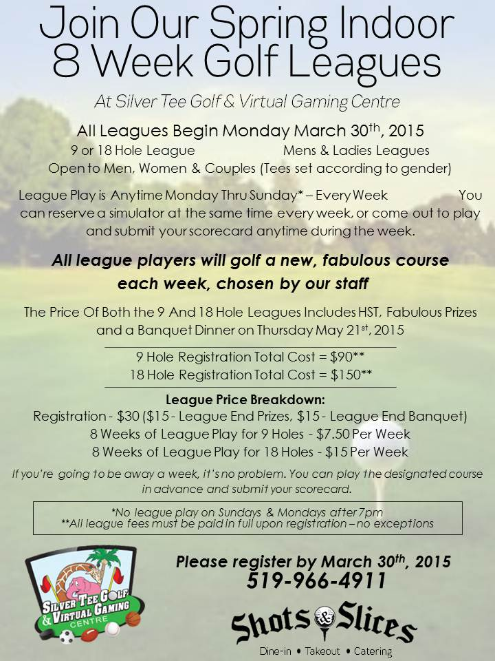 Silver Tee Spring Indoor Golf League Flyer