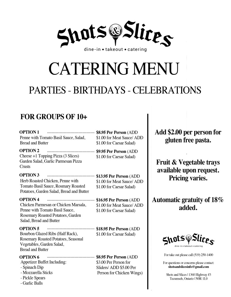 Shots & Slices Catering Menu Windsor