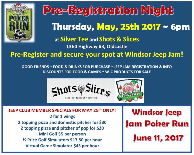 Windsor Jeep Jam Poker Run Silver Tee May 2017