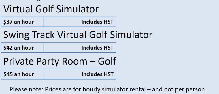 Silver Tee Virtual Golf Rates 2018