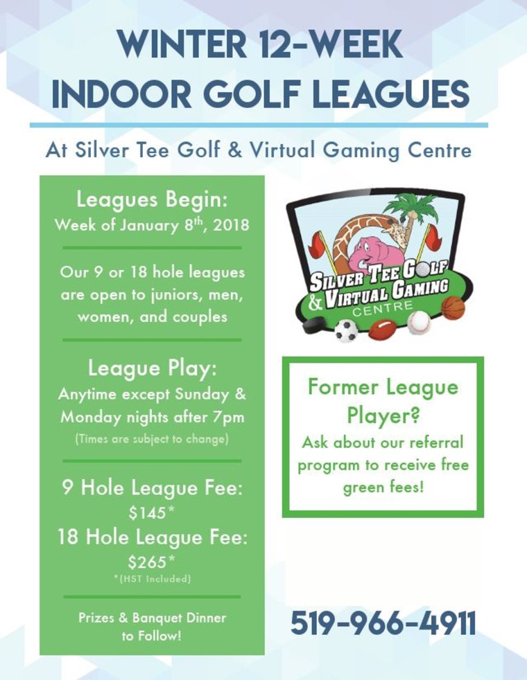 Updated Winter Golf League Flyer 2018
