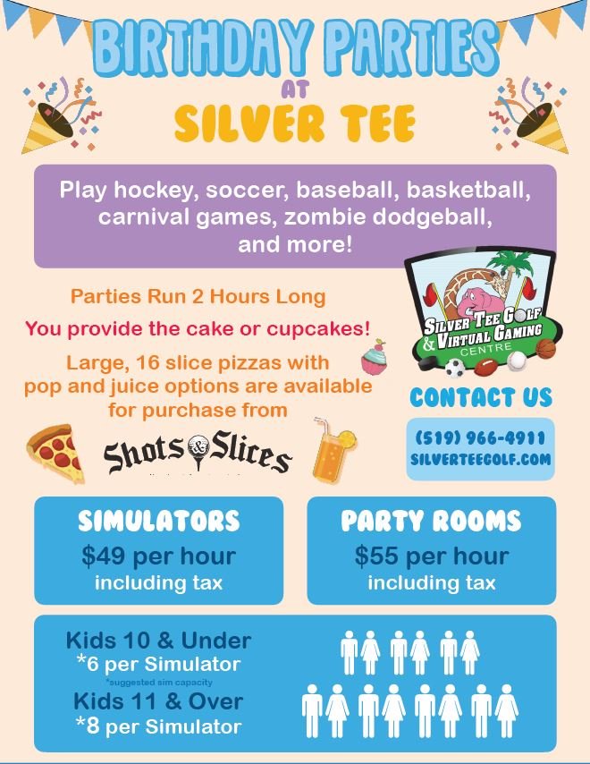 Fun Birthday party places for kids Windsor Essex On Silver Tee