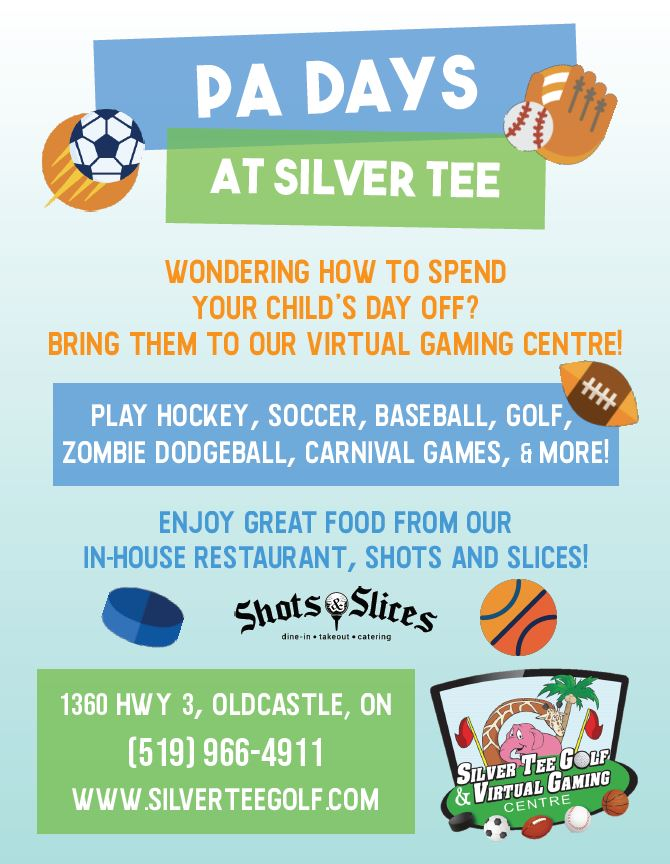 Fun things to do Windsor Essex PA Days Kids Silver Tee