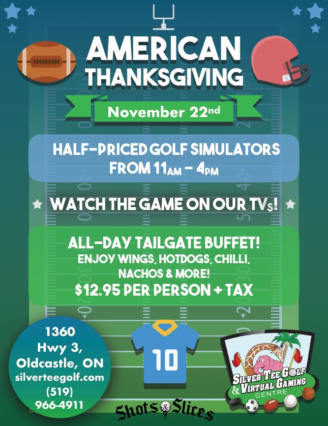 Fun things to do Windsor US American Thanksgiving Silver Tee Football 2018