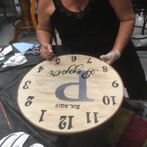 Jo's Arty Party Clock creation Silver Tee Oct 2018