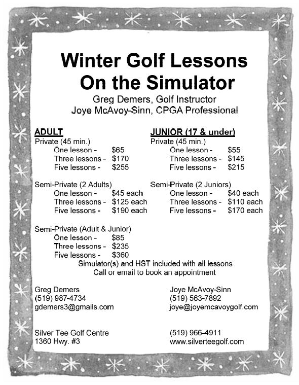 Winter 2018 2019 Indoor Golf Lessons Windsor Essex Silver Tee