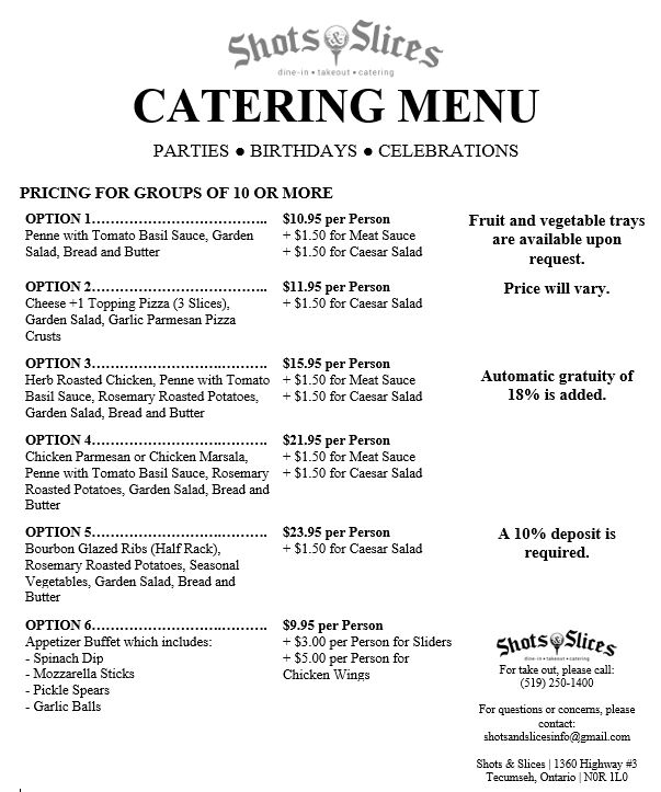 Catering Menu Shots and Slices Updated Feb 2019