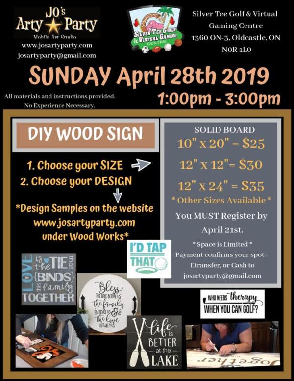 DIY Wood Sign Jos Arty Party Silver Tee April 2019