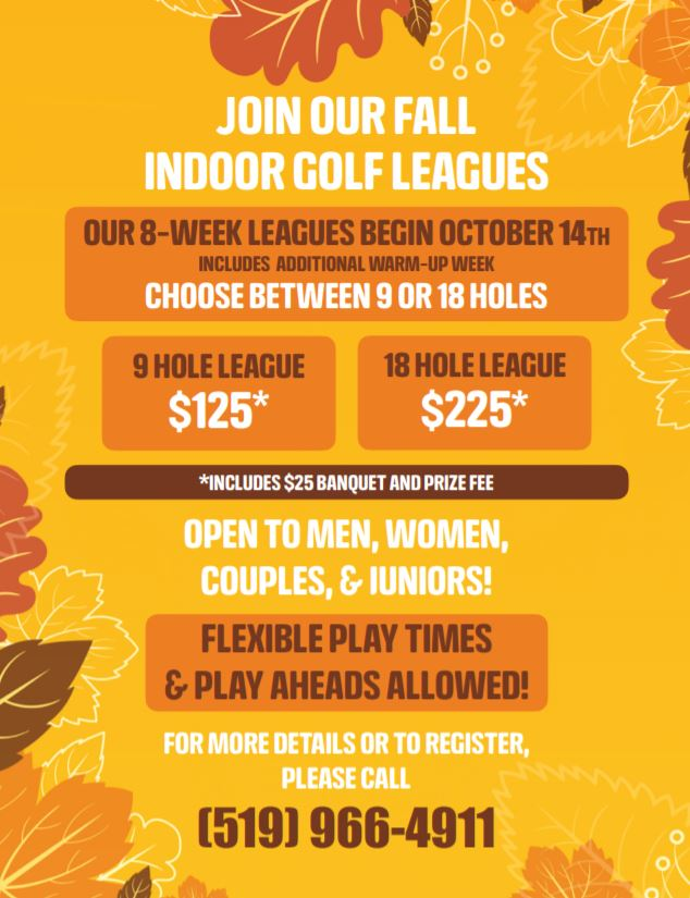Fall indoor golf league Windsor Essex 2019