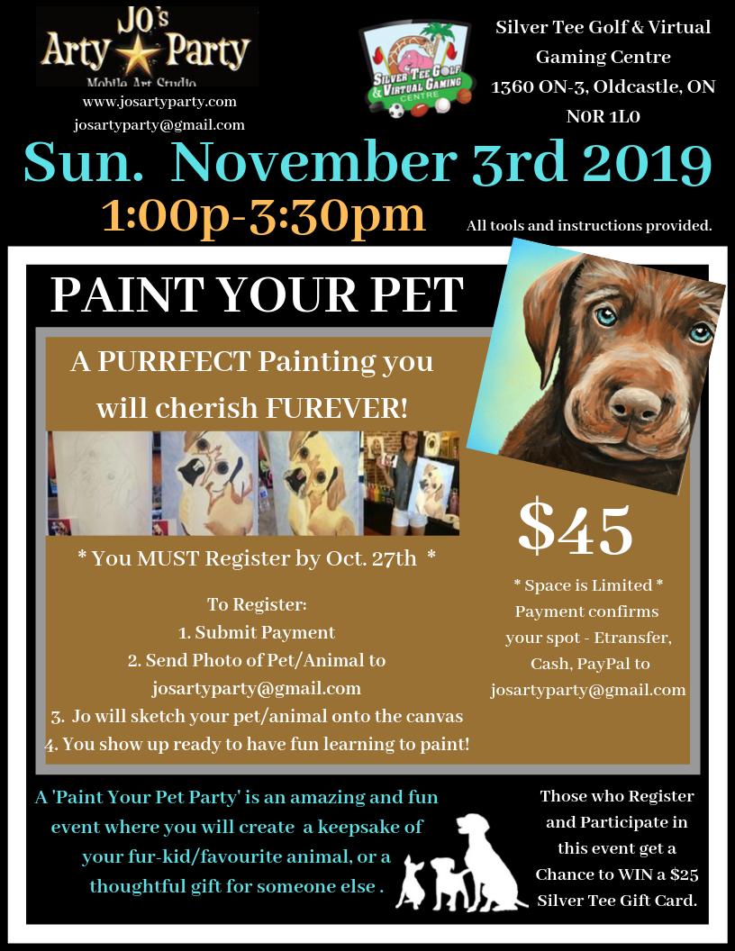 NOV 3 2019 Paint Pet Jo's Arty Party