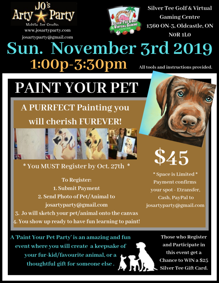 NOV 3 2019 Paint Pet Jo's Arty Party