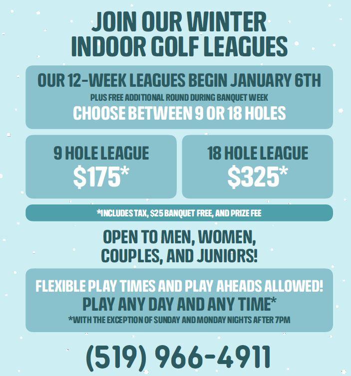 Winter Golf Leagues Update 4 Dec 2019