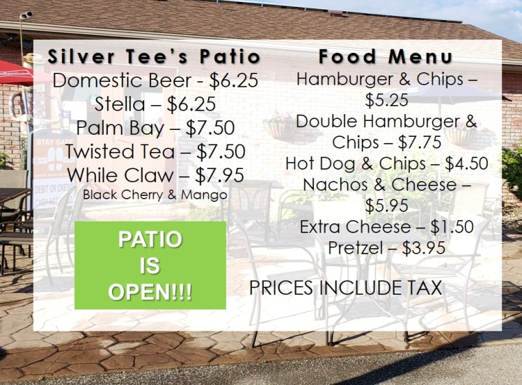 Patio Menu Bar and Food Silver Tee
